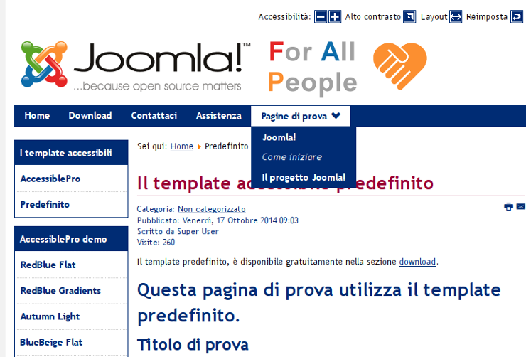 Joomla! FAP: il template accessibile predefinito