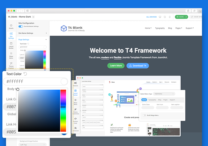 real time preview t4 joomla template framework