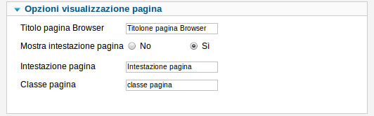 Pannello backend per gestione intestazione pagine